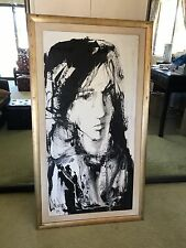 """Gino Hollander Original Expressionist Oil Painting on Canvas - 24"""" x 48"""" - 1979"""