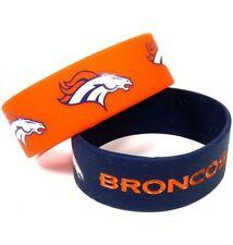 Denver Broncos Silicone Bracelet 2 Pack 2 Colors Wide Band **Brand New**