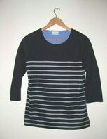 Cotswold Collections Top Cotton Mix in Navy and Grey Stripes Size S (12) BNWOT