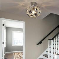 HOMCOM Modern Ceiling Light Lamp Acrylic Shade Polished Surface Silver Living