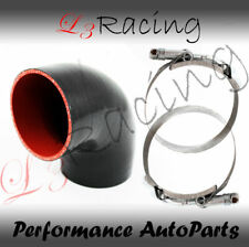 """BLACK Elbow 3"""" 76mm 4-ply Silicone Coupler Hose Turbo Intake Intercooler Niss"""