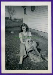 """E04 1950's Young Lady Poses w/ Her Best Friend """"Snowy"""" The Dog Photo Snapshot"""