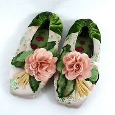 Goody Goody Dusty Pink Flower Silk Slippers Womens Medium Boho Pink Green