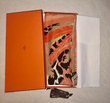 Authentic Hermes GM Cashmere Scarf Shawl 140cm Jaguar Quetzal Orange Vert Anis