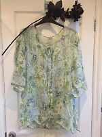 True Vintage Top Shirt Blouse Semi Sheer Floral 70s 80s 90s 8 10 12 14 Tie Neck