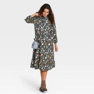 Women's Floral Print Long Sleeve Dress - Universal Thread; Navy - Size M - NWTY