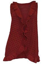 Ärmellose Damen-Strickjacken mit grober Strickart ohne Verschluss