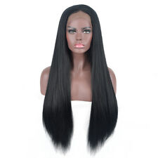 Women cheap long straight yaki hair wig Lace Front middle part Wigs black