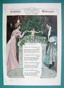 MERRY CHRISTMAS Young Couple Cupid Tree Poem - COLOR VICTORIAN Era Print