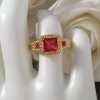 Vintage Jewellery Gold Ring Rubies White Sapphires Antique Deco Jewelry 10 U