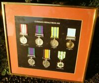 SET OF 7 FRAMED CAMPAIGN MEDALS FROM 1945  VIETNAM,KOREAN,ETC, REPRODUCTIONS