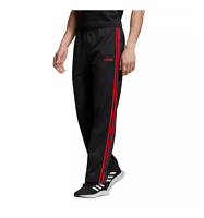 Adidas Track Pants Mens Small Authentic Essentials 3 Stripes Training Black Red