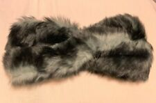 Dents - Faux Fur Twist Headband, Black Grey, Size One, RRP £69, Sold Out Design