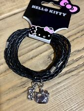 Hello Kitty Black Woven Cord Charm Bracelet Wristband Sanrio Stocking Filler Cat