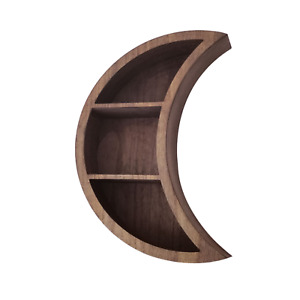 Kirpi Crescent Moon Shelf For Crystals Rustic Wall Decor Wooden Floating Shelf
