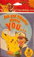 Pokemon Gotta Catch'em All Pikachu Ash Choose You Kids Birthday Cards NEW 1998