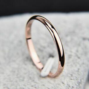 2mm Thin Polished Band Yellow Rose Gold Silver Men Women Wedding Ring Size 4-11