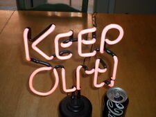 """ KEEP OUT "" NEON LITE SIGN, VINTAGE -NEW IN THE BOX, 12"" INCH PINK COLORED NEON"