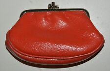 Nice Vintage ORANGE 1960s Leather Coin Purse Rare