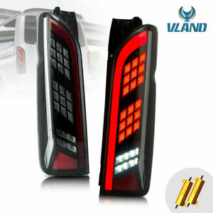 Black Full Led Tail Lights For Toyota Hiace Van 2005-2019 Rear Lamp Replacement