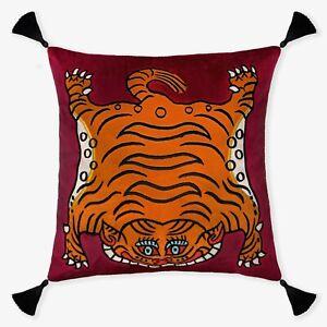 Tibetan Tiger Maroon Handmade Embroidered Decorative Throw Pillow Cushion Cover