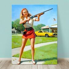 "VINTAGE Pin-up Girl CANVAS PRINT Gil Elvgren  32x24"" Napa Rifle Shoot Gun"