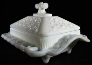 Rare Antique Milk Glass Daisy Button Covered Butter Dish w/ Reticulated Rim