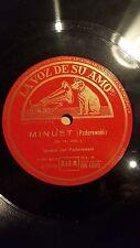 PIANO 78 rpm RECORD VsA IGNACE JAN PADEREWSKI Minuet / Claro de Luna BEETHOVEN