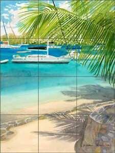 Sailboat Glass Tile Mural Evelyn Jenkins Drew Tropical Art Backsplash RW-EJD008