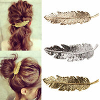 Women  Leaf Feather Hair Pin Jewelry Women Vintage Hair Clip Barrette Bobby Pins