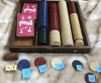 Vintage Wooden Box Chip Set 2 Sealed DECKS CANASTA PLAYING CARDS DICE & Chips