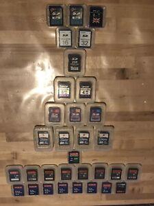 Job Lot 32 Used SD Cards Memory Cards Sandisk Kingston PNY 64MB - 32GB SanDisk