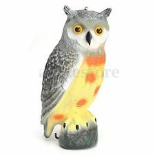 Realistic Owl Decoy Weed Pest Bird Control Garden Crow Scarer Scarecrow Ornament
