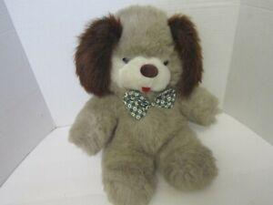 "Vtg Puppy Dog Plush Stuffed Animal Toy Brown BowTie Fairview 16""  1990"