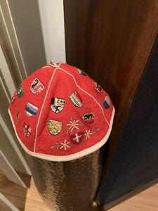 Felt Beanie Vintage With Country Shields Red Color Rare Collectible