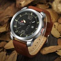 NAVIFORCE Military Army Mens Analog Quartz Leather Wrist Watch Date Waterproof