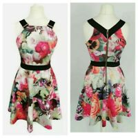 Ted Baker Pink floral Smart Party Cocktail Short Fit and Flare Dress Size 10 (2)