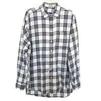 Burberry London Mens Sz L Plaid Black Blue Long Sleeve Button Cotton Dress Shirt