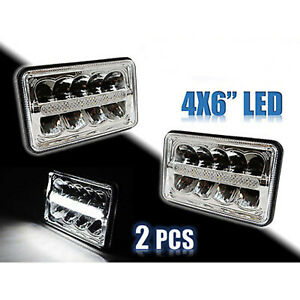 "4X6"" Chrome LED HID  Light Bulbs Clear Sealed Beam Headlamp Headlight Pair"