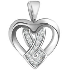 in 14kt White Gold for Her P625 Cross in Heart - Real Natural Diamond Pendant