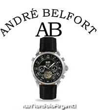 André Belfort Étoile Polaire OROLOGIO POLSO UOMO NERO AUTOMATICO CINTURINO PELLE