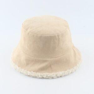 Winter Bucket Hat Reversible Corduroy Panama Thick Soft Fisherman's Wool Hat #21