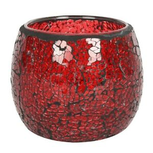 Red Crackle Glass Candle Holder Height 9.5 cm