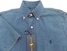 Men's POLO RALPH LAUREN Indigo Blue Cotton Shirt Small S NWT NEW