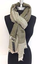 Men's Winter Blanket Long Scarf Striped Tassel Shawl Wrap Pashmina, Olive/Beige