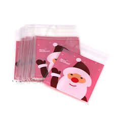 50pcs Christmas Santa Claus Cellophane Bag Gift Cookie Fudge Candy Self Adhesive