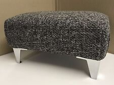 Footstool In A Grey Metal Fabric With Metal Chrome Legs