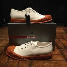 PRADA Mens Canvas Shoes White and Toffee Colour RRP £509