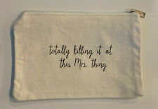 White Canvas Personalized Makeup Cosmetic Bag Custom Organizer Travel Clutch USA