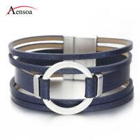 New Unisex Alloy Circle Multi-layer Leather Bangle Wrap Bracelets For Women Men